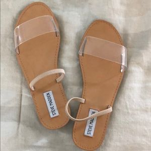 clear & leather nude slides